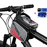 Fahrradtasche Rahmentasche Oberrohrtasche Fahrrad-Front-Rohr Touchscreen Sattel Tasche Rack Mountain Road Fahrrad mit Taschen, rot