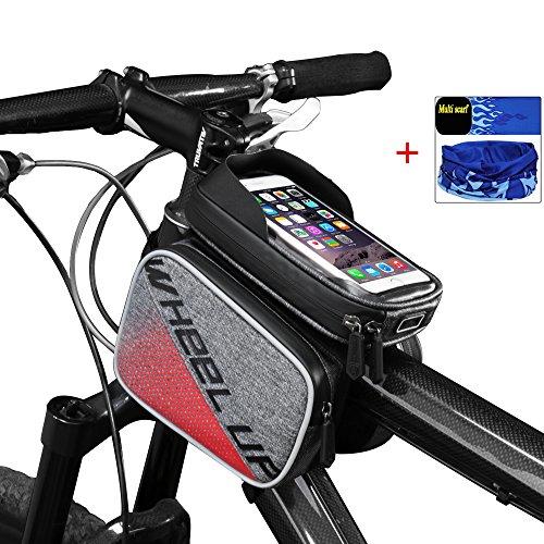 Fahrradtasche Rahmentasche Oberrohrtasche Fahrrad-Front-Rohr Touchscreen Sattel Tasche Rack Mountain Road Fahrrad mit Taschen, rot (Fahrrad Folding Rack)
