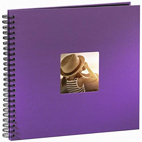 Hama Jumbo Fotoalbum (36 x 32 cm, 50 schwarze Seiten, 25 Blatt, mit Ausschnitt für Bildeinschub) lila