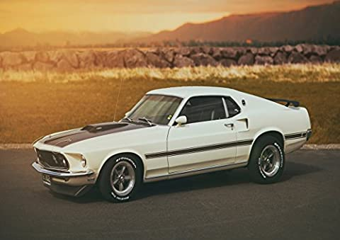 Poster Ford Mustang Mach 1 White Car Wall