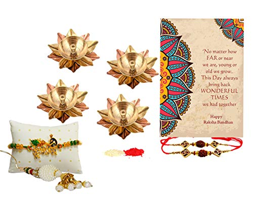 Collectible India Brass Kamal Diya Oil Lamp with Rakhi Combo Set - Raksha Bandhan Gift Set - Rakhi For Brother Bhaiya Bhabi Kids/Special Greeting Card/Krishna Rakhi/Lumba Rakhi for Bhabhi/Roli Chandan Set