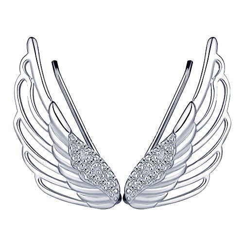Unendlich U Elegant Engelsflügel Damen Ohrklemme 925 Sterling Silber Zirkonia Ohrringe Ohrstecker Ear Cuff Ohrschmuck, Silber