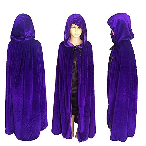 LJIE Halloween Umhang, Kapuzenumhang, Umhang Vampir Kostüm Für Halloween, Kinder,Purple,L