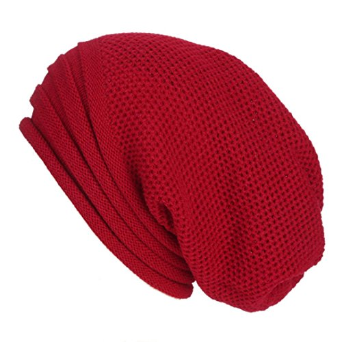 Muster Stricken-wolle-skull-cap (Winter Mützen,Beikoard Damen Herren Winter Baggy Warm Crochet Winter Wolle stricken Ski Beanie Skull Lumpy Mützen Hut (Weinrot))