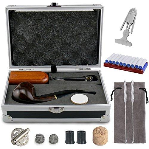 Tabakpfeife Set & einzig schön Geschenkverpackung- Joyoldelf Tabakpfeife aus Holz mit Windschutzkappe, Rohrständer, Reinigungsbürste und Rohrzubehör