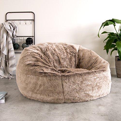 ICON - Ein extragroßer Luxussofa - Sitzsack – in weichem Kunstpelz – Ein großer flauschiger Sitzsack - XL Kunstpelz-Sitzsack (Beige)