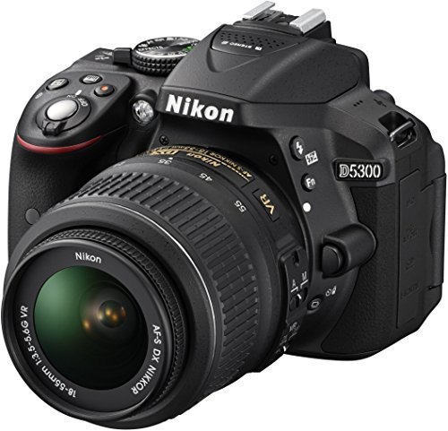 """Nikon D5300 Kit con objetivo AF-S DX 18-55mm VR - Cámara réflex digital de 24.2 Mp (pantalla 3.2"""", estabilizador óptico, vídeo Full HD, GPS), color negro"""