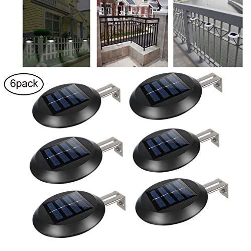 olarlicht, Solar Security Lights, Solar Powered Lampe Wasserdicht Wireless Security Lights Für Zaun/Hof/Garten/Garage (6Er Pack),Black,coolwhite ()