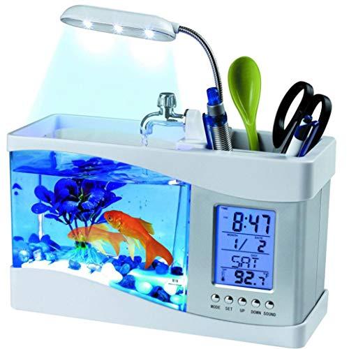 TAOtTAO Mini USB LCD Tischleuchte Fisch Aquarium Aquarium LED Uhr (Weiß)
