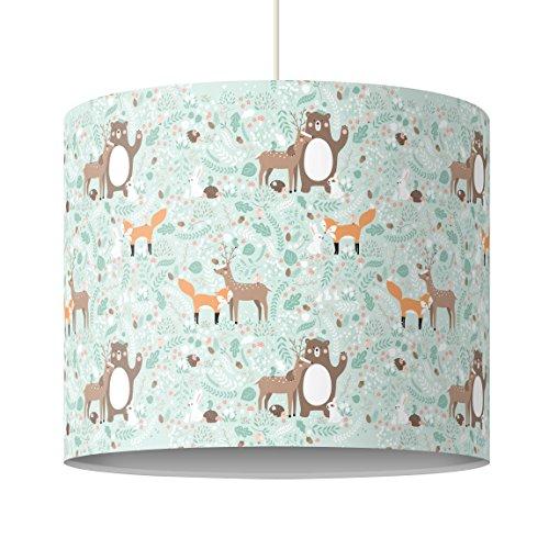 Bilderwelten Kinderlampe Kindermuster Forest Friends mit Waldtieren - Lampe - Schirmlampe Bunt Hängelampe Lampenschirm, Größe HxB: 34cm x 40cm (Lampenschirm Hase)