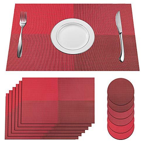 SUPERSUN 6er Set Platzdeckchen Rot Abwaschbar, Tisch Sets Abwaschbar Tischset Rot Abgrifffeste Hitzebeständig for Küche, Zuhause, Restaurant, Speisetisch, 45x30cm