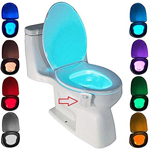 WC luz nocturna, ZSZT LED Luz de Inodoro Luz con Detección de movimiento del sensor automático, 8 Cambio de Color,Funciona con Pilas, para cuartos de baño con niños ( Sólo activa en la oscuridad ) (8 colores)