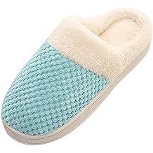 ZODOF Zapatos de Dormitorio Antideslizantes de Invierno para el hogar de Estar Cerradas Calienta Interior Casa