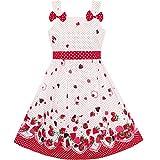 Mädchen Kleid Karikatur Polka Punkt Bogen Binden Erdbeere Gr. 110