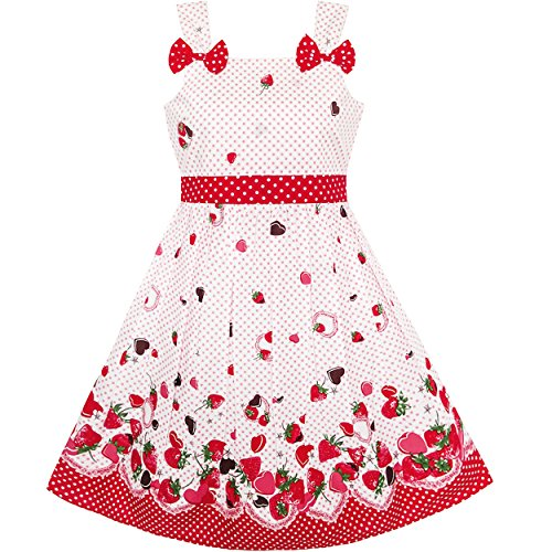 Mädchen Kleid Karikatur Polka Punkt Bogen Binden Erdbeere Gr. 86-92