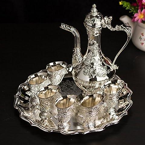 LIUYU Retro Liquor Hip Flask Glass Ornament / Exquisite Metal Wine Set / Home Decoration-A,UNE