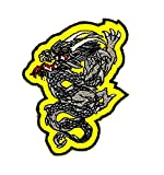 Amarillo Dragón Chino Fantasía Animal Motorcyle y para planchar parche bordado a mano coser símbolo chaqueta camiseta parches apliques accesorios