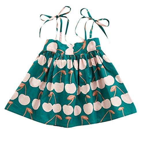JUTOO Kleinkind Baby Kleinkind Mädchen Kinder ärmellose Litschi Bedruckte Riemen Prinzessin Kleid Kleidung (Grün,90)