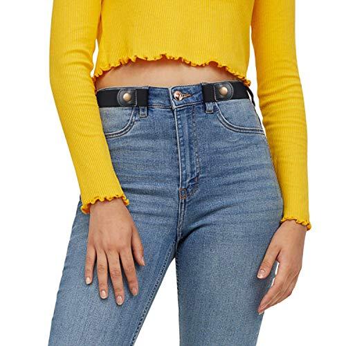 JasGood Gürtel ohne Schnalle Gürtel Elastischer Gürtel Unsichtbare Gürtel Dehnbarer Gürtel für Damen & Herren, 2-Schwarz, Geeignete größe 86cm-125cm(33-50 zoll)