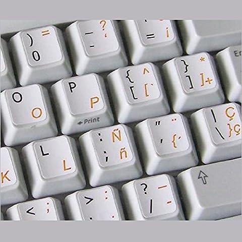 Pegatinas teclado español transparentes con letras NARANJA - Apto para cualquier teclado