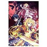 lunanana Anime Sword Art Online Poster - Yuuki Asuna Kirito Rollbild/Kakemono Wall Scroll Dekorative Wandbild Stoff Poster Hängendes Plakat, 60x40cm