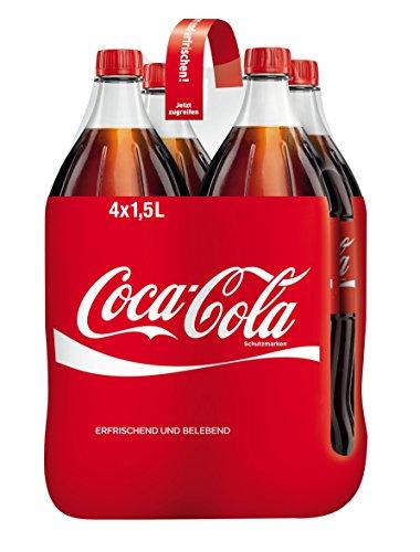 Preisvergleich Produktbild Coca-Cola Classic / Pure Erfrischung mit unverwechselbarem Cola Geschmack in stylischem Kultdesign / 4 x 1, 5 Liter Einweg Flasche