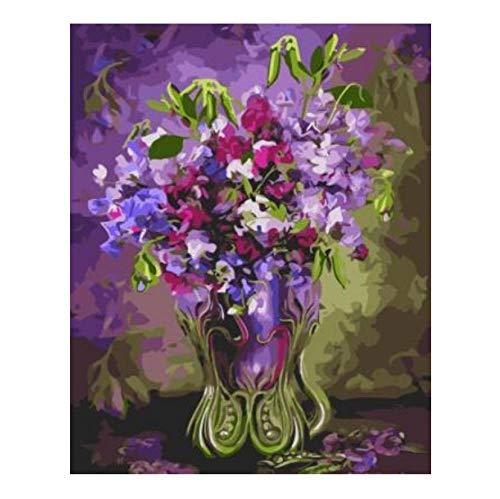 ERTQA Sweet PEA In Vase Leinwand Gemälde malen nach Zahlen handgemalte Wand dekorative Bilder für Wohnzimmer 40x50cm