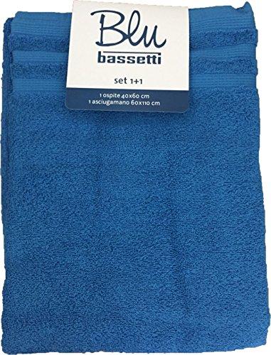 asciugamano 2 pezzi blu BASSETTI 1+1 100% cotone (BLU)