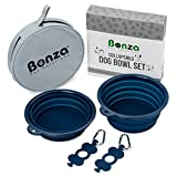 "Bonza Large Collapsible Dog Bowls, Twin Pak, 5 Cup, 7"" Diameter, Portable Dog Water Bowls for Medium to Large Pets, Lightweight, Sturdy, Leak Proof, Food Safe, Premium Quality Travel Pet Bowl Solution"