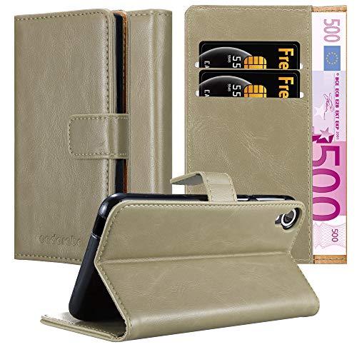 Cadorabo Hülle für HTC Desire 820 - Hülle in Cappucino BRAUN – Handyhülle im Luxury Design mit Kartenfach & Standfunktion - Case Cover Schutzhülle Etui Tasche Book