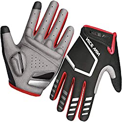 LOHOTEK Sports Gloves Cycling Gloves Motorcycle Mountain Bike Half-Finger Road Cycling Glove for Men, Women Non-slip Touch Screen (Red, L)
