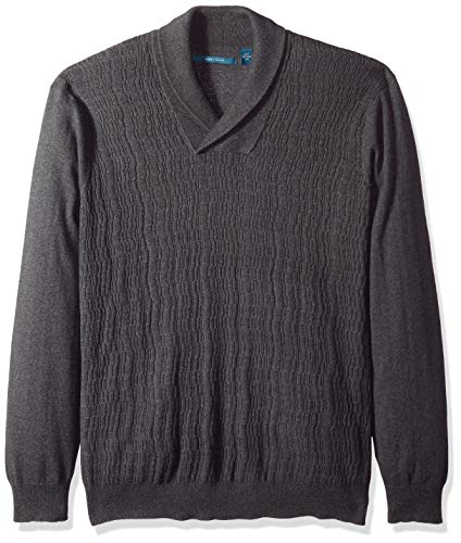 Perry Ellis Herren Big and Tall Cable Knit Shawl Collar Sweater Pullover, Charcoal Heather/Dfg, 4X Hoch Big And Tall Sweatshirt