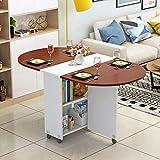 IG Household Home Table, Ovaler Klapptisch aus Holz auf Rädern 360 Deg; Rotation Telescopic Mobile Desk Küche Wohnzimmer Esszimmer Schlafzimmer Esstisch,A