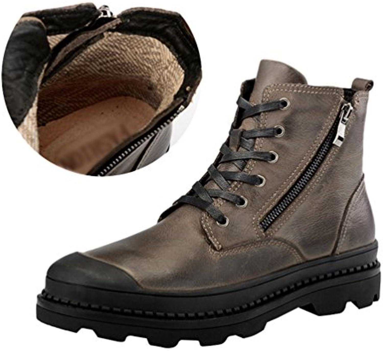 Jitong Herren Schnürstiefel mit Reissverschluss Casual Stiefelette Outdoor Boots Klassische Stiefel