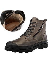 Jitong Bottes de Combat Homme à Lacets Zipper Faux Cuir Militaire Boots de  Hauteur 5a2c01af3130