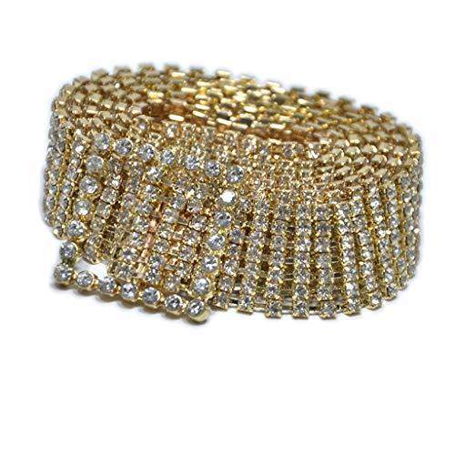 Vamoro Mode voller Strass glänzend Bund Frauen Party Kleid Gürtel Kette Fashion Gürtel Breiter Taillengürtel Hüftgürtel Bindegürtel Ledergürtel Metall Gürtel Elastisches Taille Kette(Gold) -