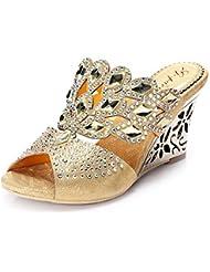 unicrystal Mujer Slip-on Mules Diamante cuña de Fiesta sandalias zapatos
