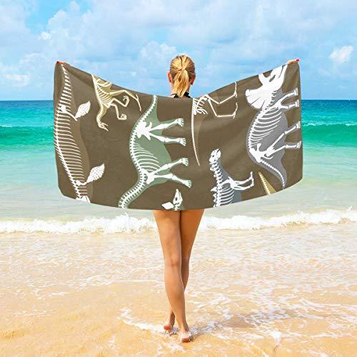 Baby Quick Kostüm - rodde Qualität Strandtuch Dinosaurier Skelette Knochen Große Stranddecke Hohe Saugfähigkeit Mehrzweck Badetuch 37x74 Zoll