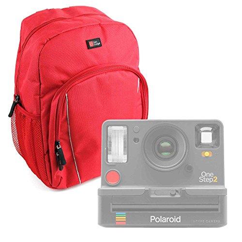 Duragadget zaino rosso + custodia impermeabile per fotocamera polaroid onestep 2   kodak printomatic - nylon di alta qualità