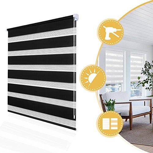 Doppelrollo Klemmfix onhe Bohren Duo Rollo 70 x 150 cm Schwarz, Fensterrollo für Fenster und Tür, lichtdurchlässig und verdunkelnd