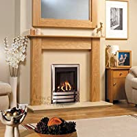 "Gas Chrome Oak Wood Surround Cream Marble Silver Coal Flame Fire Modern Fireplace Suite - 48"" - UK Mainland Only"