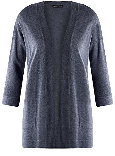 oodji Collection Damen Verschlussloser Cardigan mit Seitentaschen Blau (7400M)