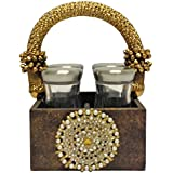 "Brown Textured Wooden Mukhwas Tray With Brooch, Tradional Gold Handle And 4 Glass Air Tight Jars: Home Dinning Or Kitchen Use - 5.5"" X 5.5"" X 8.5"""