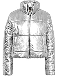FLIRTY WARDROBE Womens Wetlook Crop Jacket Warm Coats Padded Bomber Bubble Puffer Short Cool UK