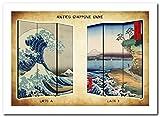 Separè Paravento Onde Hokusai | Divisorio Giapponese 3 ante Stampa Ukiyo-e