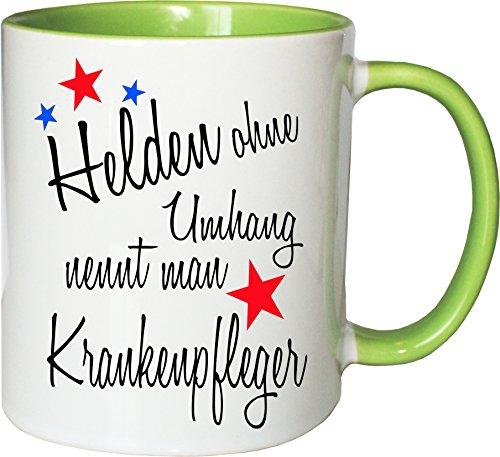 Mister Merchandise Becher Tasse Helden ohne Umhang nennt Man Krankenpfleger Kaffee Kaffeetasse liebevoll Bedruckt Beruf Job Geschenk Weiß-Grün