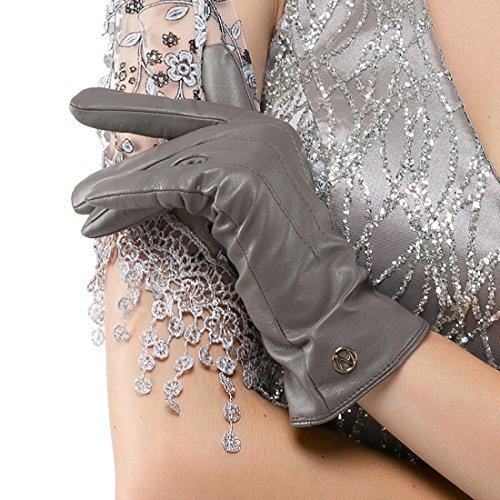 des gants en cuir italien nappaglo classique d'hiver chaud pur cachemire doublure gants de conduite (écran ou non - écran) grey (Non-tactile)