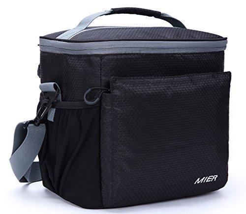 Mier borsa termica nera isolata per uomo e donna borsa termica morbida portatile per donna e uomo con fodera antipioggia, 15l