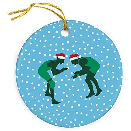 Stolz Ringer (ChalkTalkSPORTS Figur mit Weihnachtsmannmütze, Porzellan-Ornamente)