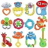 Chuckle 12 Baby-Spielzeug Rassel Geschenk-Set - Attraktive Bonbonfarben - Beißringe